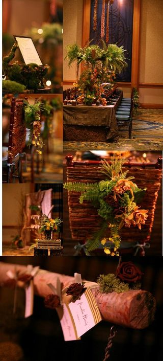 The centerpieces sat on a mixture of wood stumps clear glass centerpieces